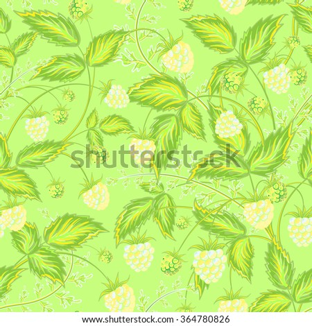 Seamless raspberry pattern. Cute hand drawing raspberry background in yellow green tone. Vector illustration. For cards, invitations, wedding or baby shower albums,  wallpapers, arts and scrapbooks. - stock vector