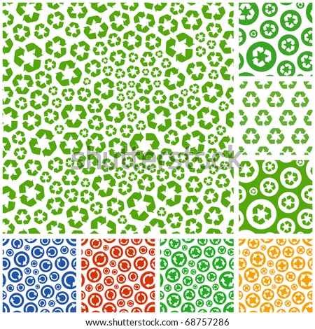 Seamless recycle background. Vector collection. - stock vector