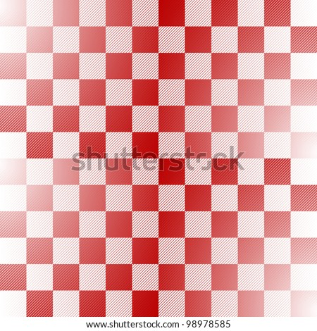 Seamless red and white checkered pattern with thin diagonal lines (vector)