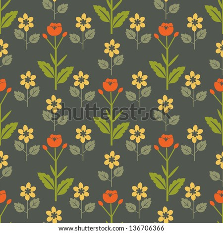 Seamless red and yellow flower pattern