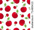 Seamless red apple pattern. On the white. Vector background. - stock vector