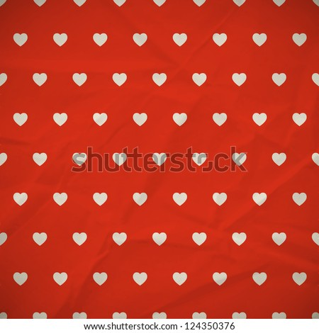 Seamless red background with hearts. Vector illustration. - stock vector