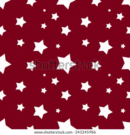 Seamless red background with white stars - stock vector