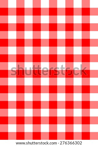 seamless red checkered fabric vector background - stock vector