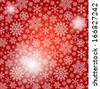 Seamless red christmas pattern with white snowflakes and spots (vector eps 10) - stock photo