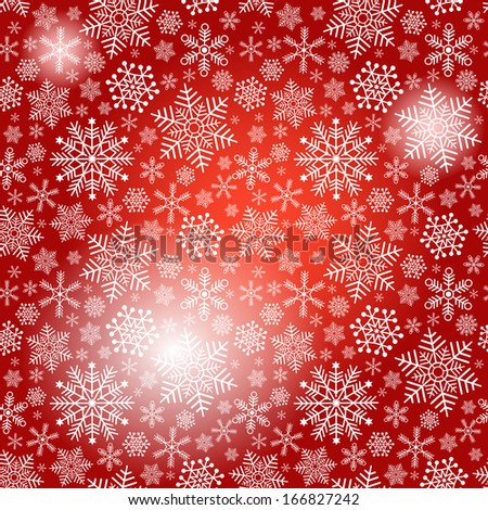 Seamless red christmas pattern with white snowflakes and spots (vector eps 10) - stock vector