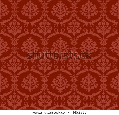 Seamless red damask classical wallpaper