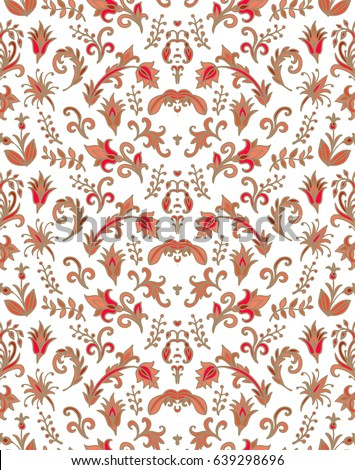 Seamless red floral vector pattern in russian style
