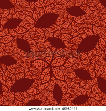 Seamless red leaves pattern on orange background - stock vector