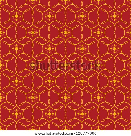 Seamless red ornamental decorative pattern - stock vector