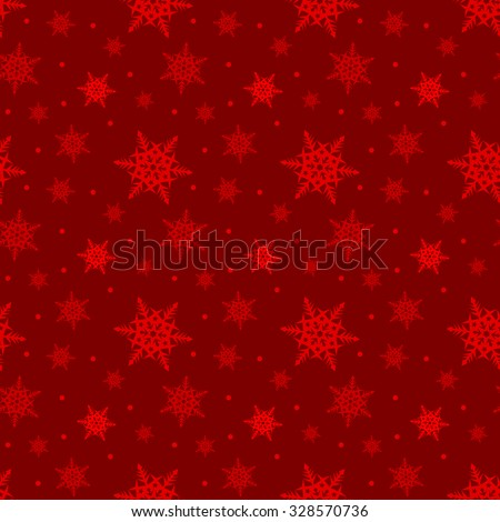 Seamless red pattern with snowflakes - stock vector