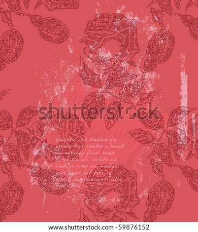 seamless red roses vintage background - stock vector