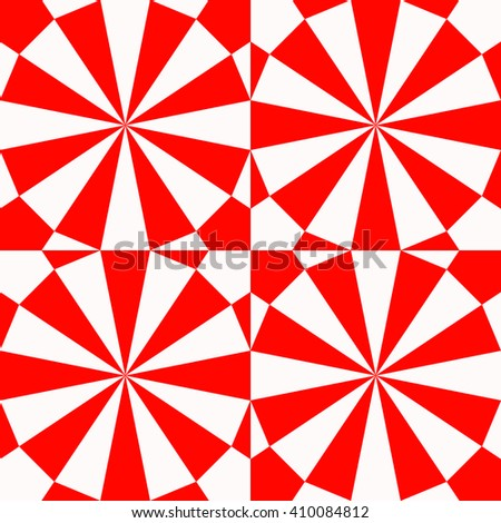 Seamless red white stylized optical prism sunbeam background. Red striped abstract wallpaper. Symmetric geometric ornament. Vector illustration - stock vector