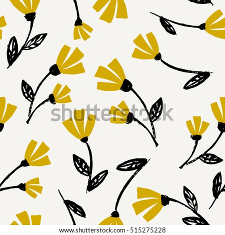 Seamless Repeat Flowers Pattern Black Mustard Stock Vector (2018 ...