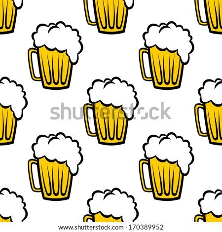 Seamless repeat pattern background of golden tankards of frothy beer or ale suitable for print, wallpaper or fabric design. Rasterized version also available in gallery - stock vector