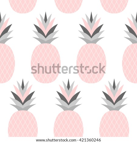 Seamless repeat pattern with pineapples in pastel pink isolated on white background. - stock vector