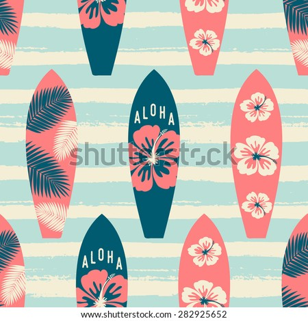 Seamless repeat pattern with surf boards in red and blue on a striped light blue brush strokes background. - stock vector
