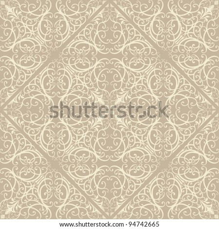 Seamless repeat vintage illustration pattern