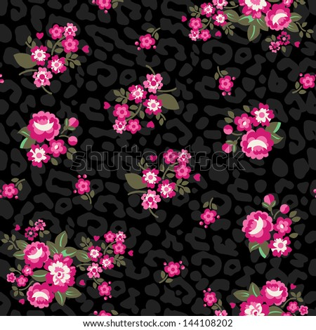 Seamless Repeating Background - Leopard Roses - stock vector