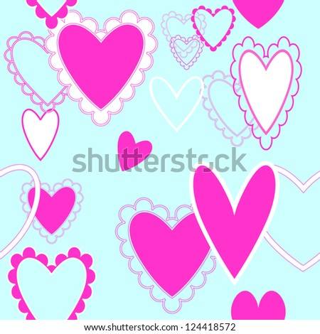 Seamless repeating hearts pattern- Pretty, lacy pink hearts on a turquoise field for Valentine's Day, easy to change colors.