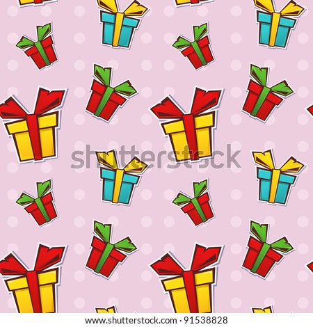Seamless repeating pattern with colorful gift boxes and ribbons on a dotted background