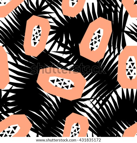 Seamless repeating pattern with papayas on black and white palm leaves background. Modern textile, greeting card, poster, wrapping paper designs. - stock vector