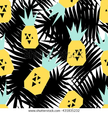 Seamless repeating pattern with pineapples on black and white palm leaves background. Modern textile, greeting card, poster, wrapping paper designs. - stock vector