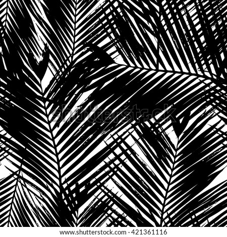 Seamless repeating pattern with silhouettes of palm tree leaves in black and white. - stock vector