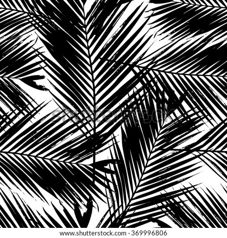 Seamless repeating pattern with silhouettes of palm tree leaves in black on white background. - stock vector