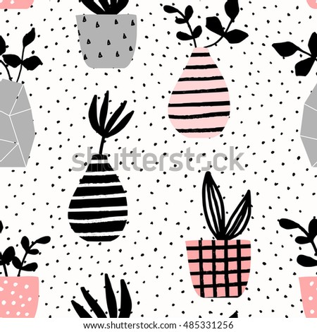 Seamless repeating pattern with vases and pots on dots texture background. Cute and modern Scandinavian style illustration, perfect for greeting cards, wall art, wrapping paper, etc.
