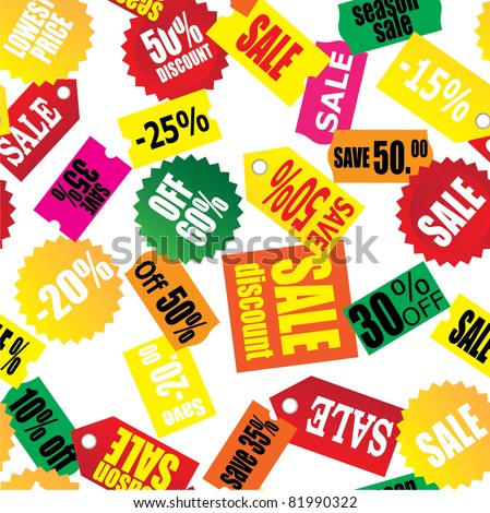 seamless retail background (sale,discount,save) - stock vector