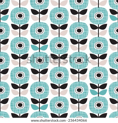 Seamless retro abstract poppy flower blue winter floral background pattern in vector - stock vector