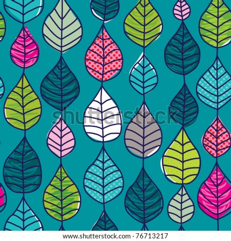 Seamless retro autumn leaf background pattern in vector - stock vector