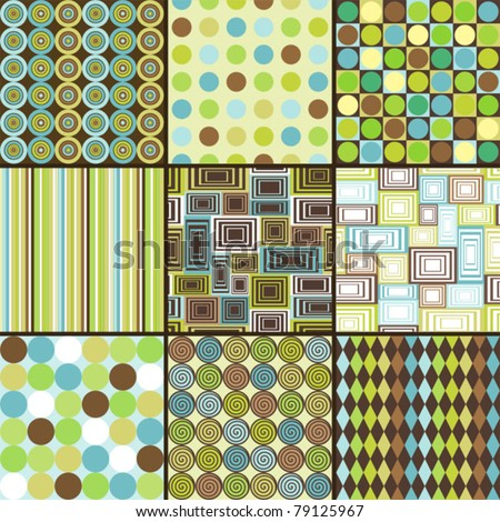 Seamless retro background - set of nine patterns - stock vector