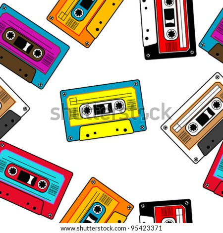 Seamless retro cassettes pattern isolated - stock vector