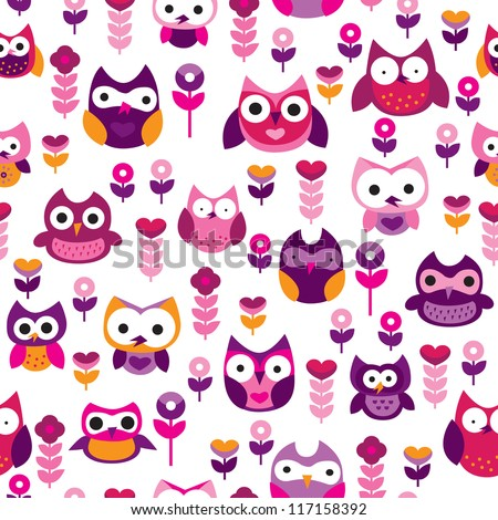 Seamless retro colourful owl bird pattern for kids in vector - stock vector