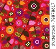 Seamless retro colourfull flower pattern illustration in vector - stock vector