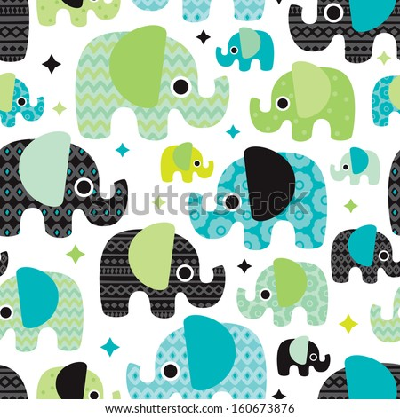 Seamless retro elephant baby boy pattern wallpaper background in vector  - stock vector