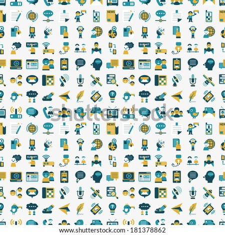 seamless retro flat communication pattern - stock vector