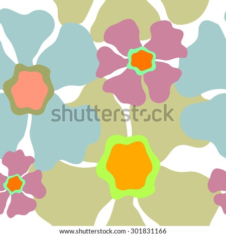 Seamless retro floral pattern. 1960s collection. Abstract vector background. Blue, purple, grey on white. Backgrounds & textures shop. - stock vector