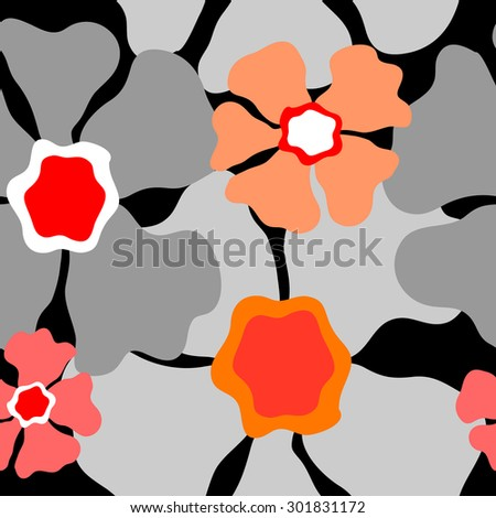 Seamless retro floral pattern. 1960s collection. Abstract vector background. Grey, red, pink on black. Backgrounds & textures shop. - stock vector