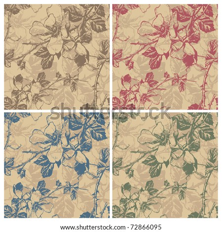 seamless retro floral pattern, vector - stock vector