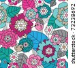 Seamless retro flower and birds pattern background in vector - stock