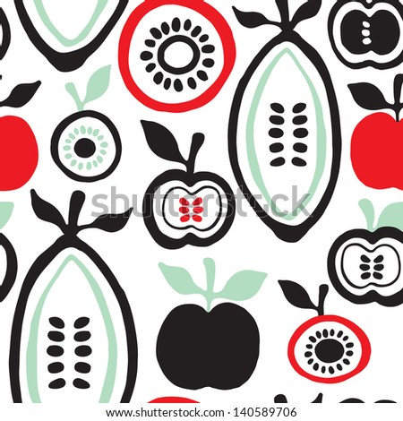 Seamless retro fruits and seeds illustration background pattern in vector - stock vector