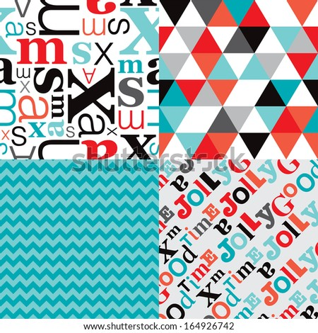 Seamless retro geometric christmas typography background pattern set in vector - stock vector