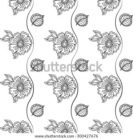 Seamless retro graphic floral background. Doodle vector illustration. Hand drawn sketch for any design.