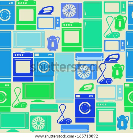 Seamless retro green pattern with domestic electric appliances - stock vector