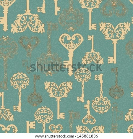Seamless retro Keys Background for your design or scrapbook, VECTOR