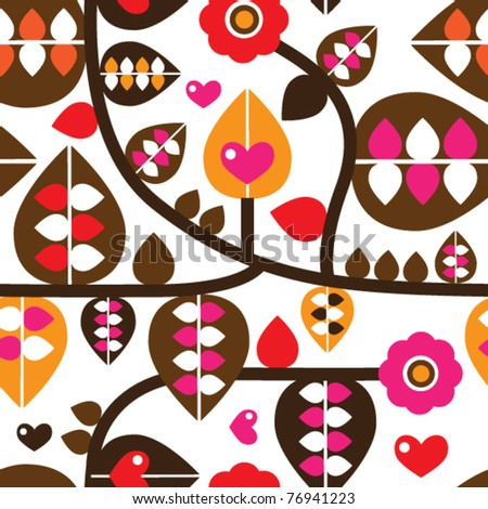 Seamless retro leaf and flower branch illustration background pattern in vector - stock vector
