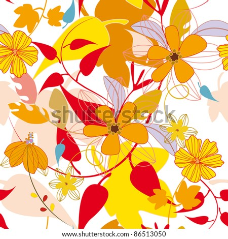 seamless retro leaf autumn pattern in vector